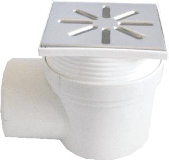 Трап канализационный Ø110 боковой, c регулируемой высотой и пластиковой решеткой 150x150 мм