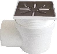 Трап канализационный Ø110 боковой c регулируемой высотой, нержавеющей решеткой 150x150 мм