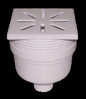 Трап канализационный Ø50 прямой, c регулируемой высотой и пластиковой решеткой 150x150 мм