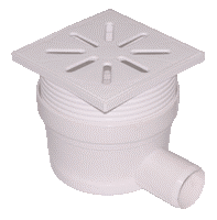 Трап канализационный боковой Ø50 с регуляцией высоты, пластиковой решеткой 150x150мм